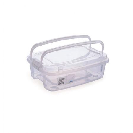 Caixa organizadora Gran Box baixa C/alça e trava cristal 8337 1,5L Plasútil