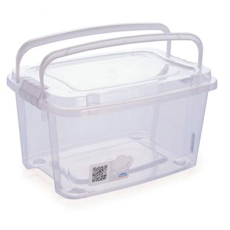 Caixa organizadora Gran Box alta com alça e trava - cristal - 8415 - 10,7 litros - Plasútil