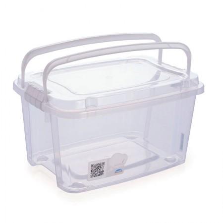 Caixa organizadora Gran Box alta com alça e trava - cristal - 8413 - 6,2 litros - Plasútil