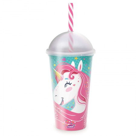 Copo shake com canudo Fun Unicórnio 500 ml - 607 - Plasútil
