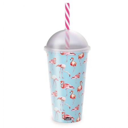 Copo shake com canudo Fun Flamingo 500 ml - 607 - Plasútil