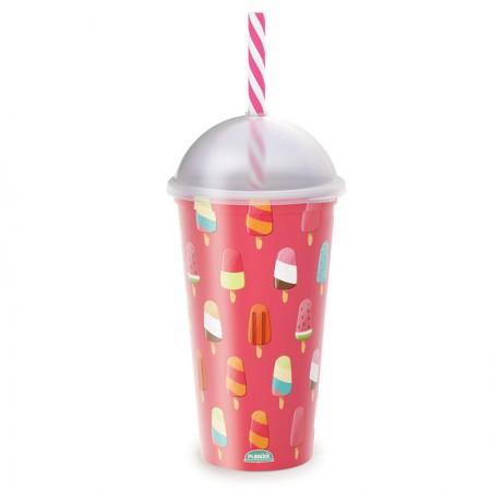 Copo shake com canudo Fun Sorvete 500 ml - 607 - Plasútil
