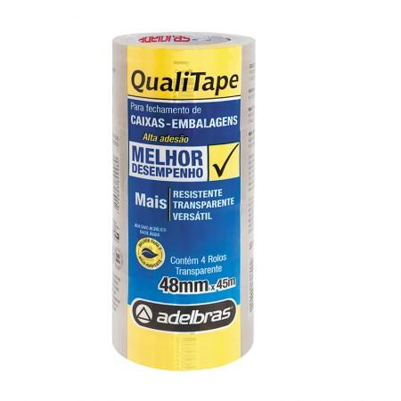 Fita para embalagem transparente - 48mm x 45m - Qualitape - com 4 unidades - Adelbras