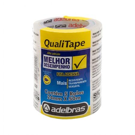 Fita adesiva Qualitape - 24mm x 50m - com 5 unidades - Adelbras