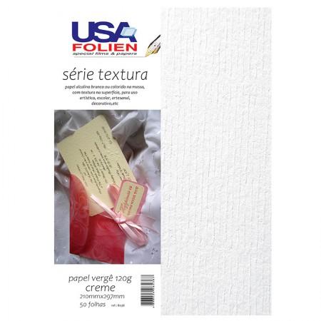 Papel vergê A4 120g branco - com 50 folhas - 8435 - Usa Folien