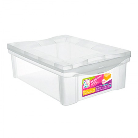 Caixa organizadora box baixa - cristal - 21001 - 13,5 litros - Ordene