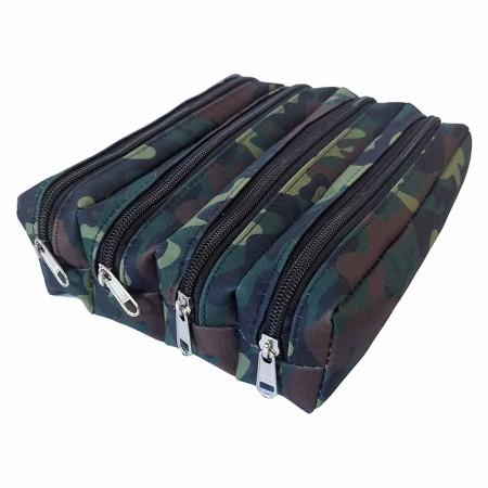 Estojo escolar quadruplo com ziper - 114-M1328VD/20 - Camuflado Verde - Franesb