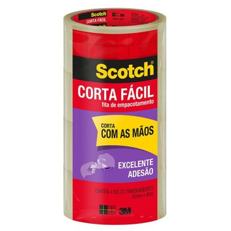 Fita para embalagem transparente Corta Fácil - 45mm x 40m - 3M