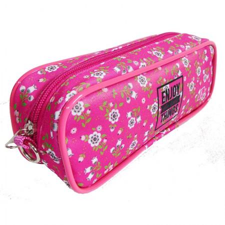 Estojo escolar com ziper - 105-4034/20 - Sport I Flowers Pink - Franesb