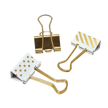 Prendedor de papel 25mm dourado, listras e bolinhas com 10 unidades - 178268 - Tilibra