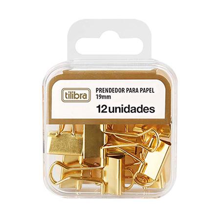 Prendedor de papel 19mm dourado - com 12 unidades - 178250 - Tilibra