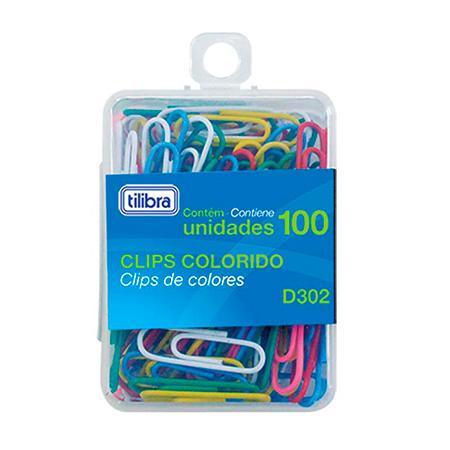 Clips colorido 2/0 -  com 100 unidades - Tilibra