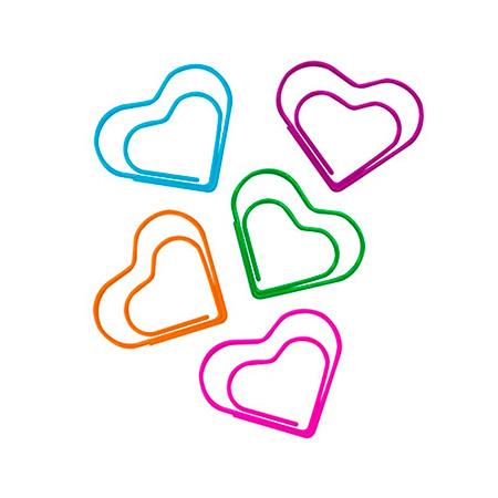 Clips colorido coração 28mm - com 20 unidades - 178292 - Tilibra
