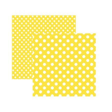 Folha de scrapbook amarelo poá grande - unidade - 20010 - Toke e Crie