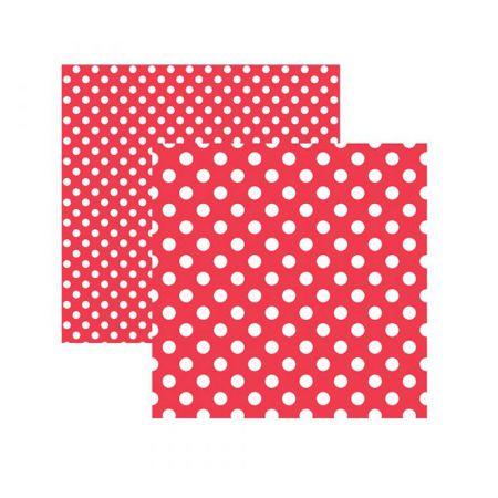 Folha de scrapbook vermelho poá grande - unidade - 20009 - Toke e Crie