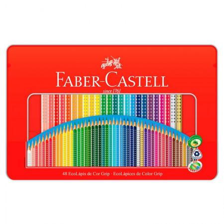 Lápis de cor Colour Grip 48 cores - lata grip - 121048LT - Faber-Castell