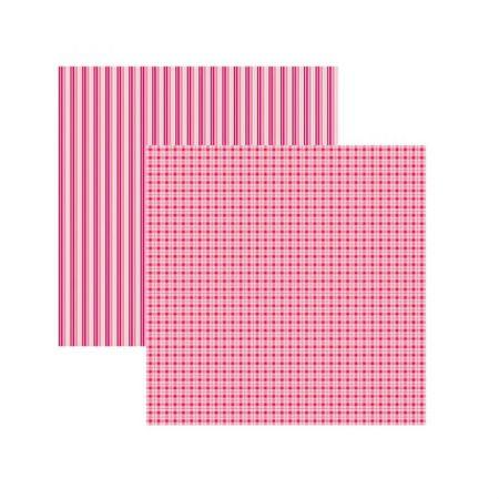 Folha de scrapbook rosa xadrez e listras - duplo - unidade - 20269 - Toke e Crie