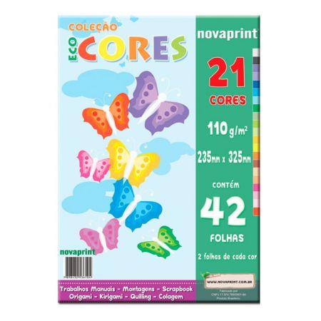 Bloco ecocores 110g - 325x235mm - 42 folhas com 21 cores  - Novaprint