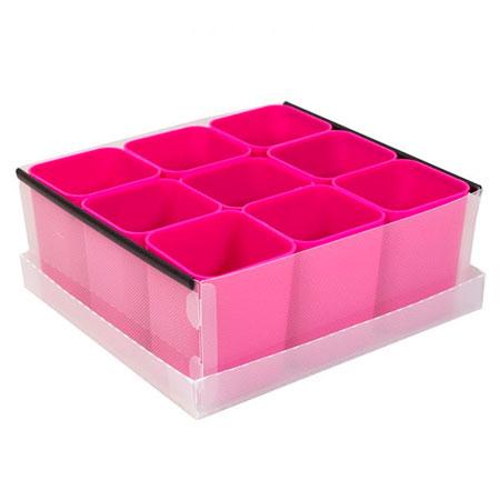 Caixa organizadora de objetos com 9 divisões - rosa - 2194.Q.004 - Dello