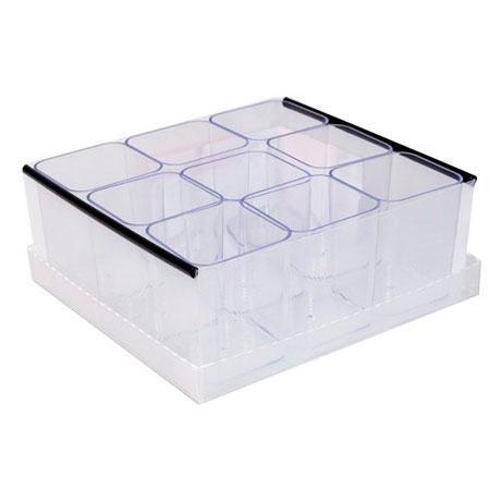Caixa organizadora de objetos com 9 divisões - cristal - 2194.H.004 - Dello