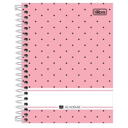 Caderneta espiral capa dura 1/8 - 80 folhas - Academie Feminino - Rosa - Tilibra