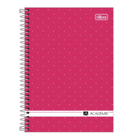 Caderno espiral capa dura 1/4 - 80 folhas - Academie Feminino - Rosa pastel - Tilibra