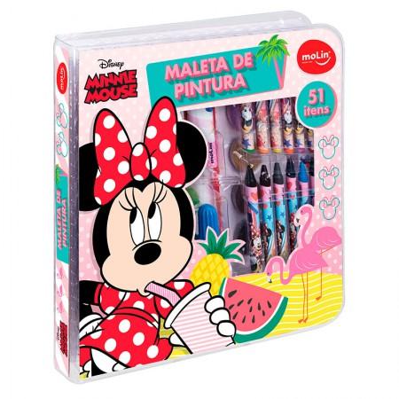 Maleta de pintura Square Minnie - com 51 itens - 22338 - Molin