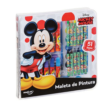 Maleta de pintura Square Mickey - com 51 itens - 22639 - Molin