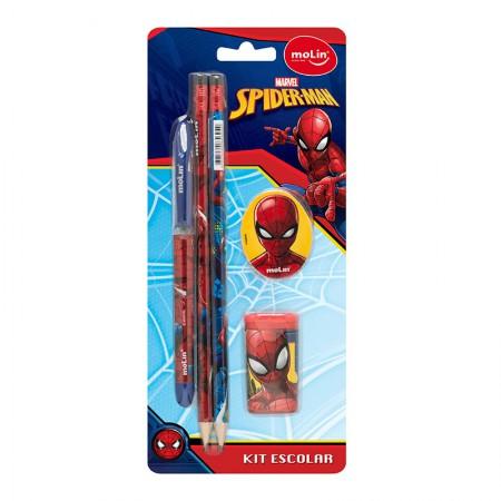 Kit escolar Homem Aranha - com 5 itens - 5180 - Molin