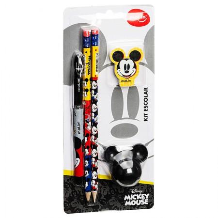Kit escolar Mickey - com 5 itens - 22630 - Molin