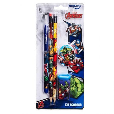Kit escolar Os Vingadores - com 5 itens - 22230 - Molin