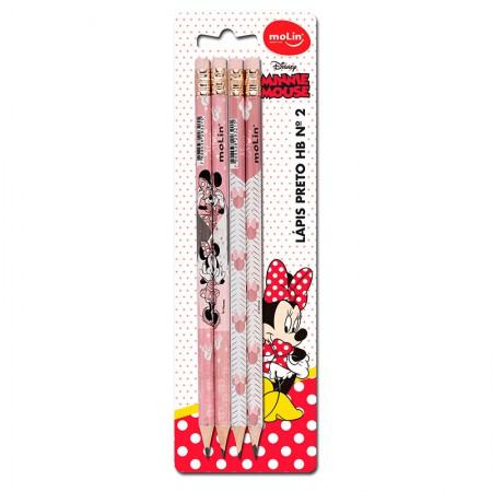 Lápis preto com borracha Minnie - com 4 unidades - 22350 - Molin