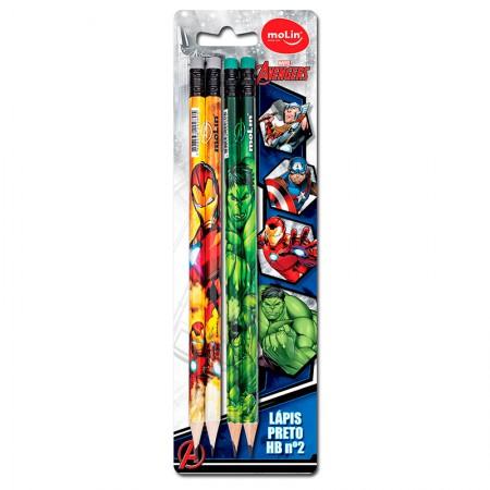 Lápis preto com borracha Os Vingadores - com 4 unidades - 22250 - Molin
