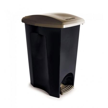 Cesto de lixo plástico Preto com pedal - 3496 - 33 Litros - Plasutil