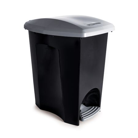 Cesto de lixo plástico 15 Litros - Preto com pedal - 3495 - Plasutil