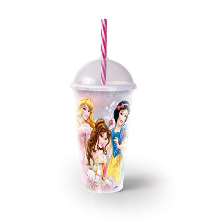 Copo com canudo Princesas 500 ml - 8301 - Plasutil