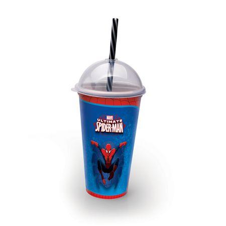 Copo com canudo Homem aranha 500 ml - 8316 - Plasutil