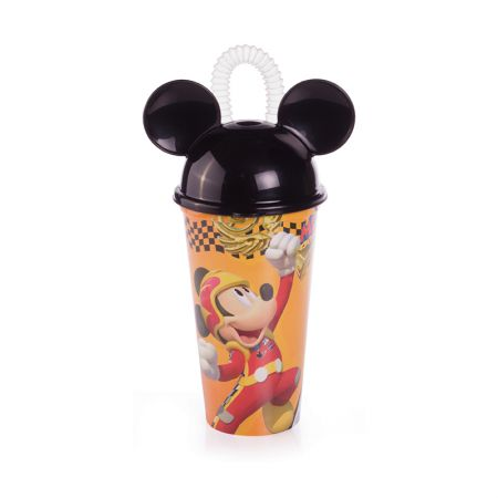 Copo com canudo Mickey Roadster Racers 500 ml - 6823 - Plasutil
