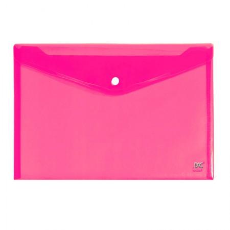 Envelope plástico com botão A5 - 654PP-RS - Rosa - Dac