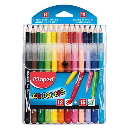 Lápis de cor Color Peps 15 cores + 12 canetinhas jungle - 897412 - Maped