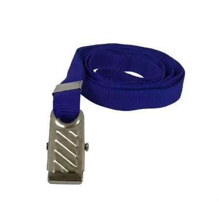 Cordão para crachá com presilha - Azul royal - pacote com 10 unidades - Identcom