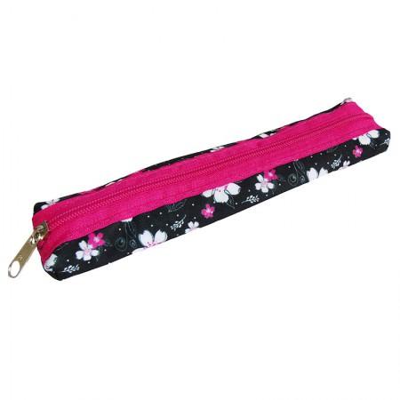 Estojo escolar com ziper - 109-6030/20 - Canudinho Flower Black - Franesb