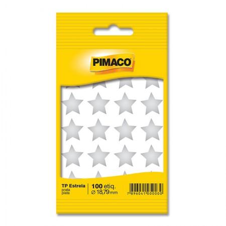 Etiqueta adesiva para codificação -  Estrela Prata - com 100 etiquetas - Pimaco