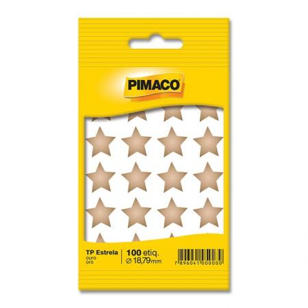 Etiqueta adesiva para codificação -  Estrela Ouro - com 100 etiquetas - Pimaco