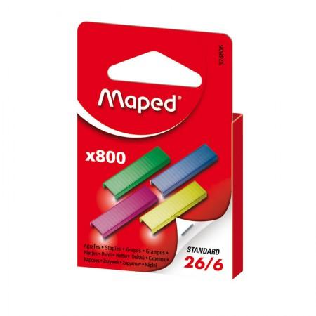 Grampo galvanizado colorido 26/6  - com 800 unidades - Maped