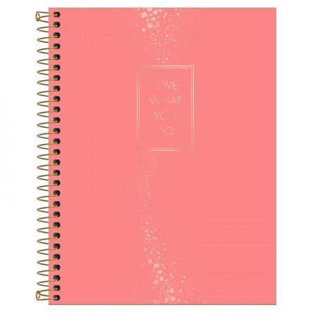 Caderno colegial capa dura executivo feminino - 80 folhas - Cambridge - Salmão - Tilibra