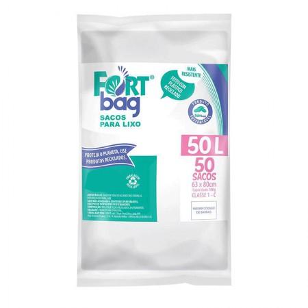 Saco para lixo 50 llitros Branco - com 50 unidades - Fortbag