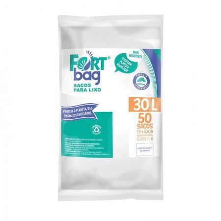 Saco para lixo 30 llitros Branco - com 50 unidades - Fortbag
