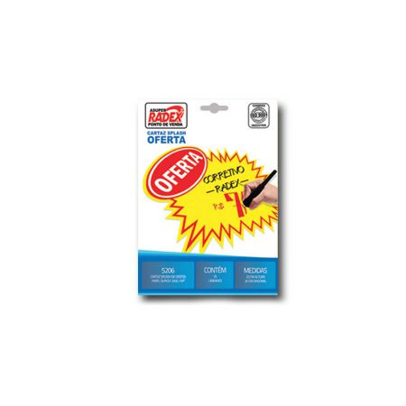 Splash amarelo com oferta - 5206 - com 25 unidades - 20x30 cm - Radex