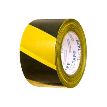 Fita para demarcação de solo 48x30 - amarela e preta - Tectape